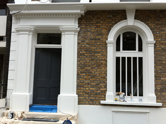 External Jesmonite Door Pediment & Arched Window Architraves & Pilasters